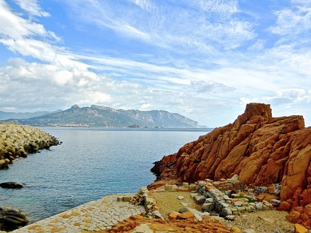Rocky, Shore, Coast, Arbatax, Sardinia, Red, Seashore