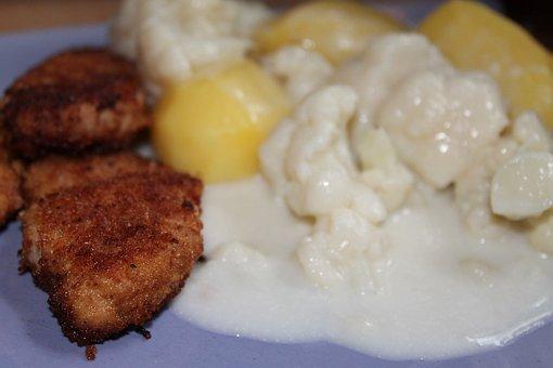Schnitzel, Cauliflower Vegetable, Cauliflower, Breaded
