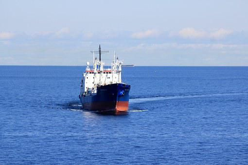 Ship, Cargo Ship, Sea, Water, Blue, Finnish Bay, Sky