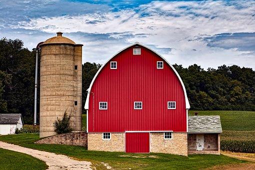 Wisconsin, Red Barn, Silo, Buildings, Farm, Rural