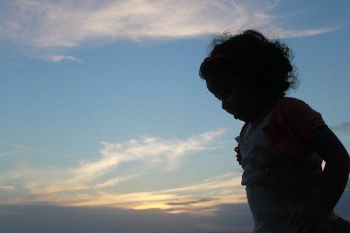 Child, Silhouette, Sunset, Salvador, Chiaroscuro