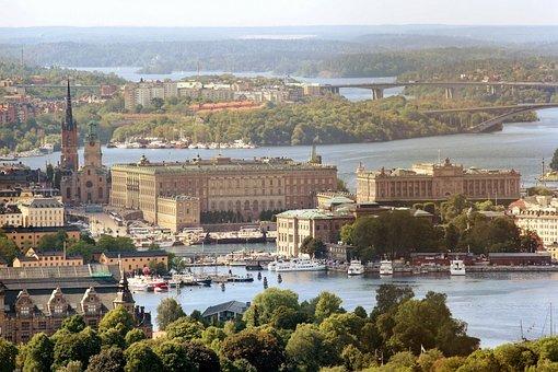 Royal Palace, Sweden, Stockholm, Air Photo
