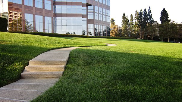 Sidewalk, Street, Grass, Green, Tan, Rocks, Building