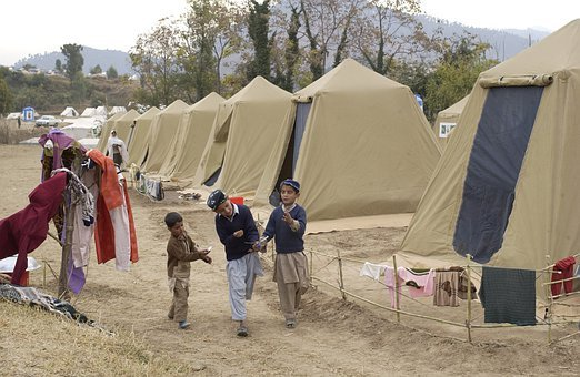 Shinkiari, Pakistan, Camp, Tents, Children, Trees