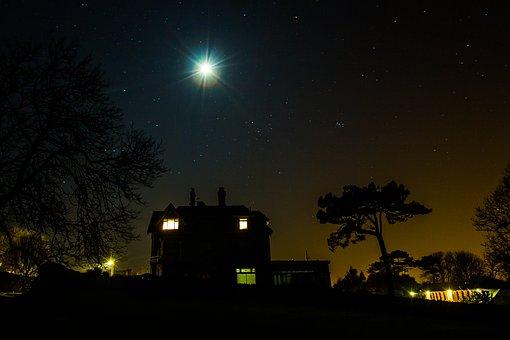 Night, Month, City, Stars, The Sky, Silhouetts
