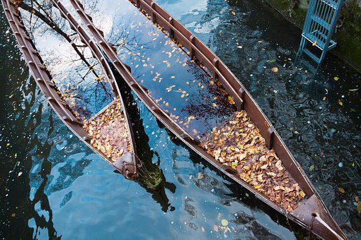 Boot, Zille, Transport Ship, Danube, Autumn, Leaves