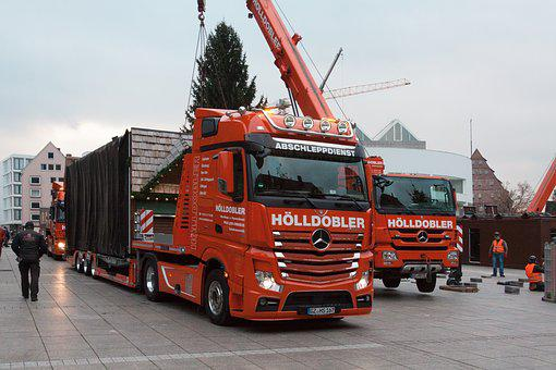 Truck, Low-bed Trailer, Crane, Heavy Transport