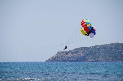 Parasailing, Paragliding, Parachute, Sea, Water Sport