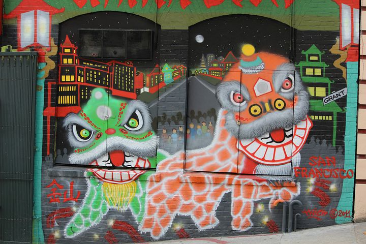 Dragons, Mural, Chinatown, Culture, Ancient, Asian