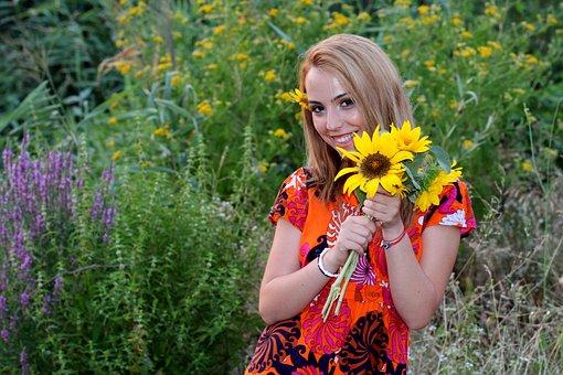 Girl, Sunset, Sunflower, Flowers, Blonde, Beauty