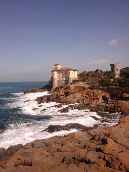 Coastline, Seashore, Castle, Cliff, Tuscan, Coast