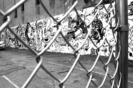 Graffiti, Wire Mesh Fence, Black And White, Street Art