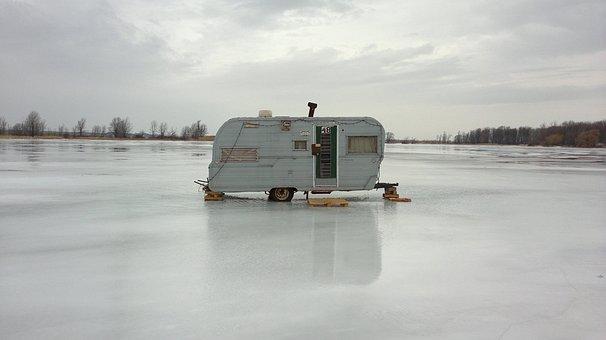 Ice Fishing, Ice Fishing Hut, Ice, Fishing, Snow, Hut