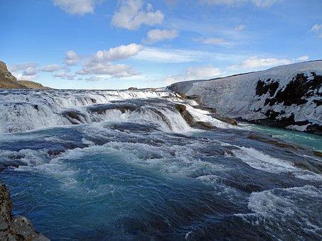 Waterfall, Iceland, Gullfoss, Water, Landscape, Nature