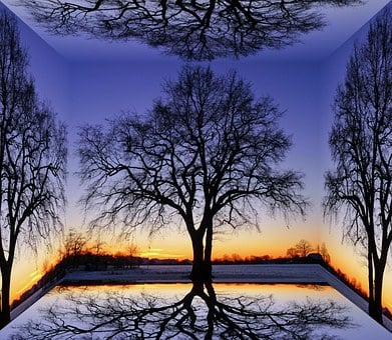 Cube, Trees, Landscape, Nature, Sunset, Sky, Autumn
