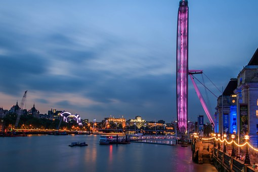 London Eye, River Thames, London At Dusk, Blue Hour