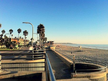 Pacific Beach, San Diego, Boardwalk, California, Water