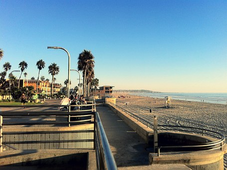 Pacific Beach, San Diego, Boardwalk, California, Water