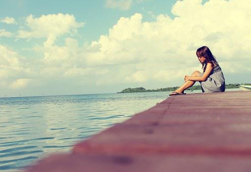 Sky, Sea, Pier, Female, Alone Woman, Sitting, Lonely