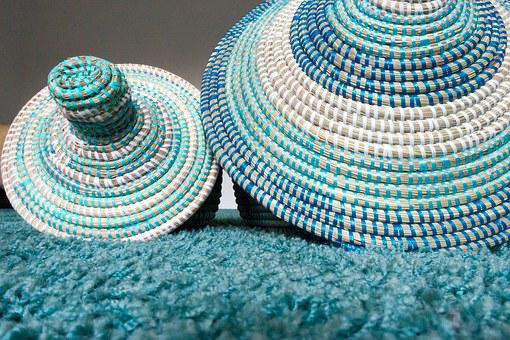 Basket, Raffia Basket, Turquoise, White, Blue