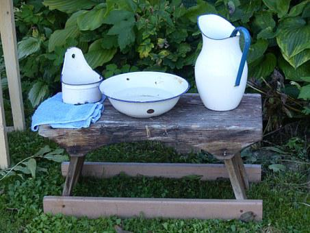 Washbasin, Watering Can, Soap Dish, Bench, Outdoor