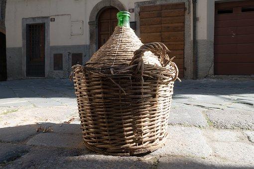 Wine Balloon, Raffia Basket, Transport, Basket, Patch