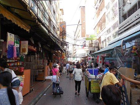Street, Crowd, Motion, Traffic, Urban, City, Chinatown