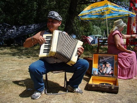 Accordion Player, Man, Accordion, Music, Umbrella, Vest