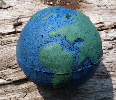 Earth, Ball, Plastic, Wood, Blue, Green, Toy