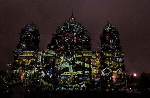 Berlin Cathedral, Festival Of Light, Lighting, Darkness