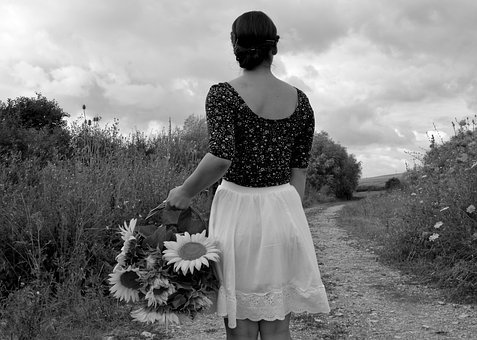 Black And White, Young Woman, Flower, Summer, Flowers