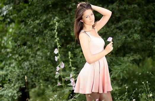 Girl, Nature, Flower, Dress, Beauty, Blonde, Blue Eyes