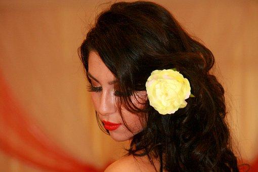 Girl, Beauty, Rose, Long Hair, Brunet, Flower, Model