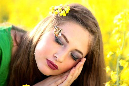 Girl, Butterfly, Dreaming, Camp, Flowers, Yellow