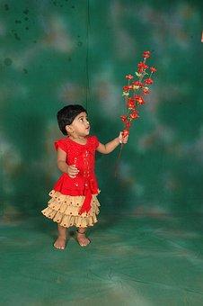 Girl, Child, Kid, Flowers, Holding, Cute