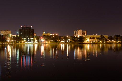 Lakeland, Florida, Night Scene, City Lights, Cityscape