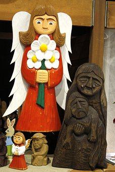 Sculpture, Wood Carving, Face, Girl, Flowers, Color