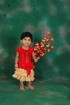 Cute, Girl, Child, Flowers, Holding