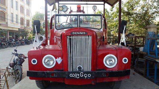 Myanmar, Fire Engine, Dennis, Automobile, Car, Classic