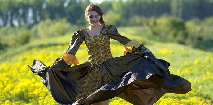Girl, Dance, Dress, Flowers, Princess, Yellow, Beauty