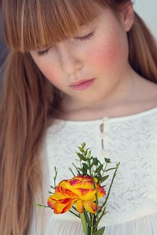 Person, Human, Female, Girl, Flower, Ranunculus
