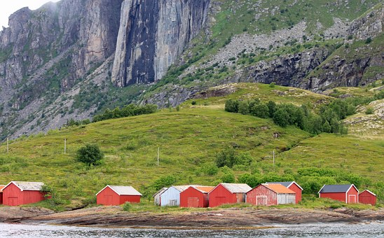 Norway, Fishermen's Cabins, Red, Bank, Fishing