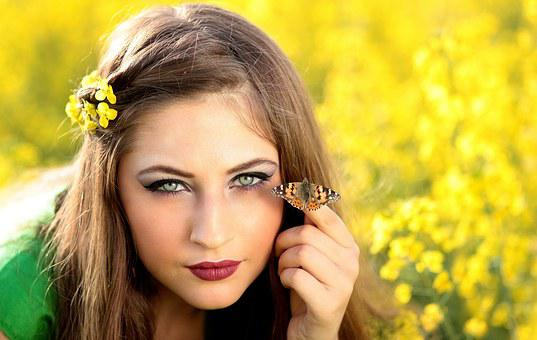 Girl, Butterfly, Camp, Flowers, Yellow, Beauty, Nature