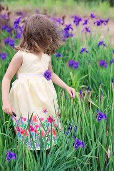 Little Girl In Wind, Summer, Flowers, Purple, Spring
