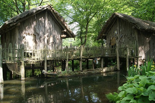 Stilt Houses, Cottages, Scale, Water, Forest, Nature