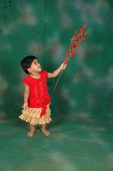 Girl, Smart, Cute, Child, Young, Gazing, Flowers