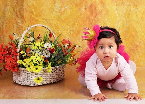 Bebe, Crawling, Flowers, Baby, Girl, Child, Princese