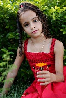 Girl Looking, Holding Flower, Girl In The Garden, Model