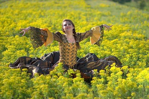 Girl, Flowers, Joy, Princess, Yellow, Beauty, Spring
