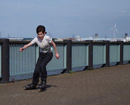 Rollerblades, Teen, Fun, Boy, Happy, Active, Joy, Sport